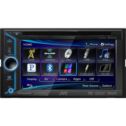 "JVC Double-Din In-Dash BLUETOOTH DVD Receiver with Large 6.1"" TouchScreen Display, MP3 and USB Input Capabilities, Wireless Calling and Steaming Music Capabilities, AM/FM Tuner with Radio Data System, and Variable Color Display Illumination, Compatible with iPhone 5S/5C/5/4S/4/3GS/3G/2G, Android, Blackberry, and App Link Mode for iPhone 4S/4, plays CDs, DVDs, and USB Memory Devices, FREE Bonus JVC Remote included"