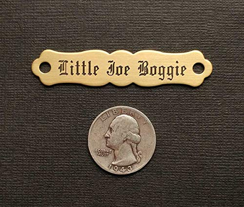 SADDLE NAME PLATE ORNATE Small Thick Solid Brass Custom Engraved (Saddle Plate)