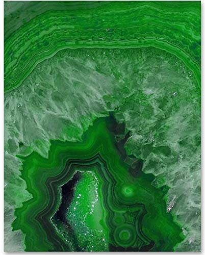 Green Geode - 11x14 Unframed Art Print - Makes a Great Home Decor Under -