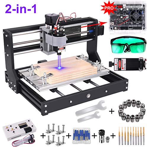 2-in-1 3000MW Laser Engraver CNC 3018 Pro Engraving Machine, GRBL Control 3 Axis DIY Mini CNC Machine Wood Router Engraver with Offline Controller + ER11 Extension Rod + CNC Router Bits (Best Cnc Laser Cutting Machine)