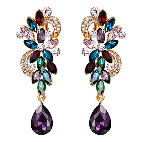 Formal Jewelry Costume (BriLove Wedding Bridal Clip On Earrings for Women Bohemian Boho Crystal Flower Chandelier Teardrop Bling Long Dangle Earrings Colorful Multicolor Gold-Toned)