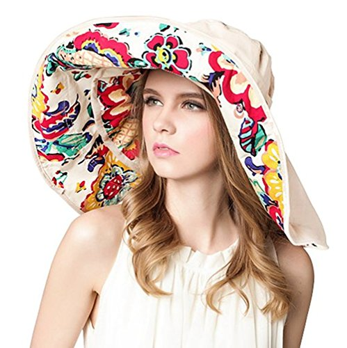 Silly Safari Bus (FTSUCQ Womens Sun Hat Floppy UPF 50+ Bonnet Folding Large Brim Cap,Beige)