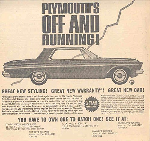 1963 Plymouth Fury (1963 Plymouth Fury Dealer Newspaper Ad)