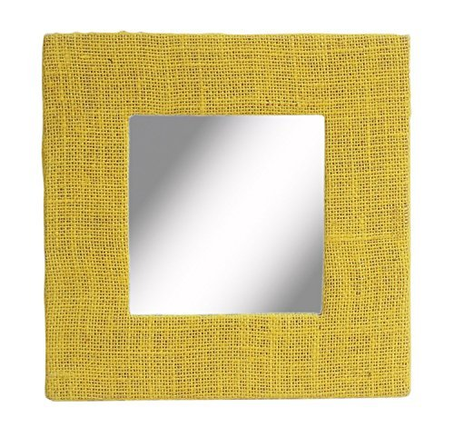 SouvNear 814614023566 Mirror Yellow - Exclusive Design Sure to catch all the attention in the room, the bright yellow borders of the frame are made from hand-woven jute fabric Bathed in simplicity and style, this minimalistic design wall accessory is a quick way to transform any dull wall into an exciting one - bathroom-mirrors, bathroom-accessories, bathroom - 51YakLvKVoL -