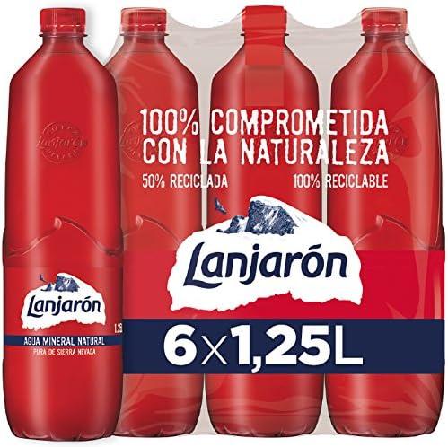 Lanjarón Agua Mineral botella 100% plástico reciclado - Pack de 6 ...