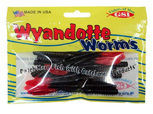 (Catchmore Wyandotte Worms - Fire Tail - Pack of 20 - Black/Red Tail #WDWBLKRT-20P)