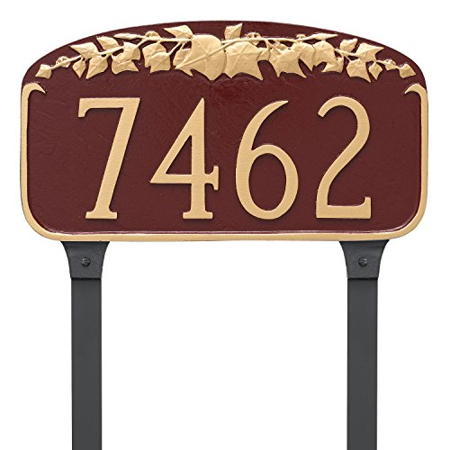 Montague Metal Ivy Leaf Address Sign Plaque with Lawn Stakes, 7.25