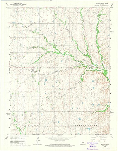 Burdick KS topo map, 1:24000 scale, 7.5 X 7.5 Minute, Historical, 1972, updated 1974, 26.8 x 20.9 IN - - Legends Kansas The Ks City