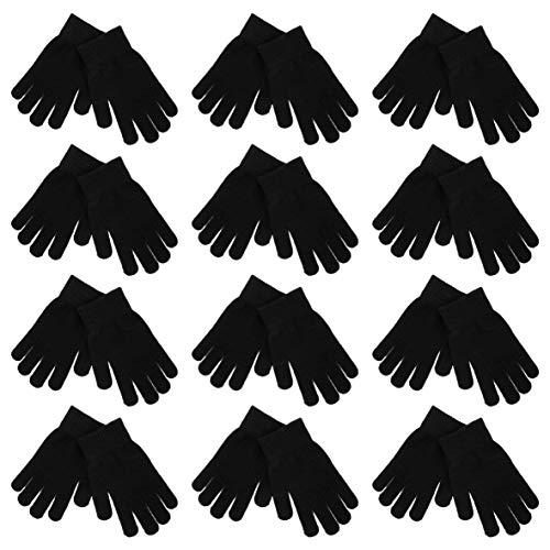 High Desert Gear Unisex Adults Teenagers Magic Winter Knitted Gloves 12 Pairs 1 Dozen (Black)