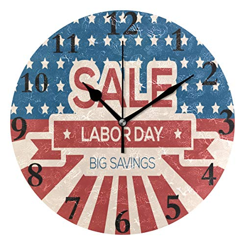 Wall Clock Unique Labor Day Theme Silent Non Ticking Decorative Round Digital Clocks for Home/Office/School Clock