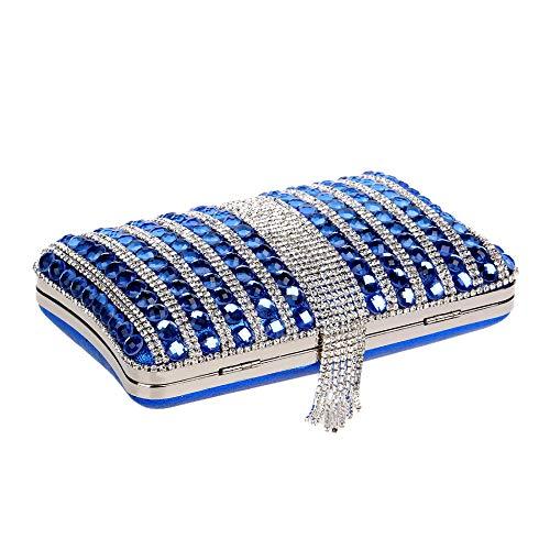 Robe Femme Prom Fête Gland Cristal Clutch Blue Bourse Sac à Pochette Soirée Diamant Mariage Sac D'embrayage Main PXrUXvWqn