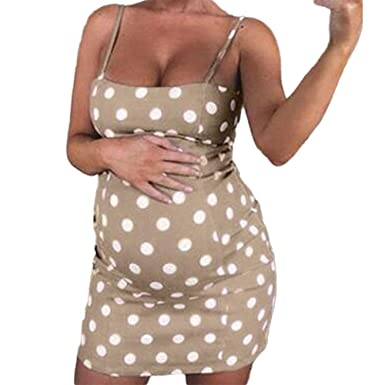 9fd2631908dd4 Hauzet Women Sexy Polka Dot Maternity Sleeveless Nursing Boho Polyester Mini  Pregnant Dress(Kakhi,