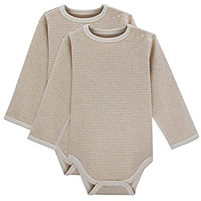 Dababe Unisex Baby 2 Pack Long Sleeve Bamboo Fiber and Cotton Bodysuits