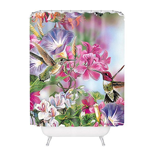 General Hummingbird With Flower Polyester Fabric Bathroom...