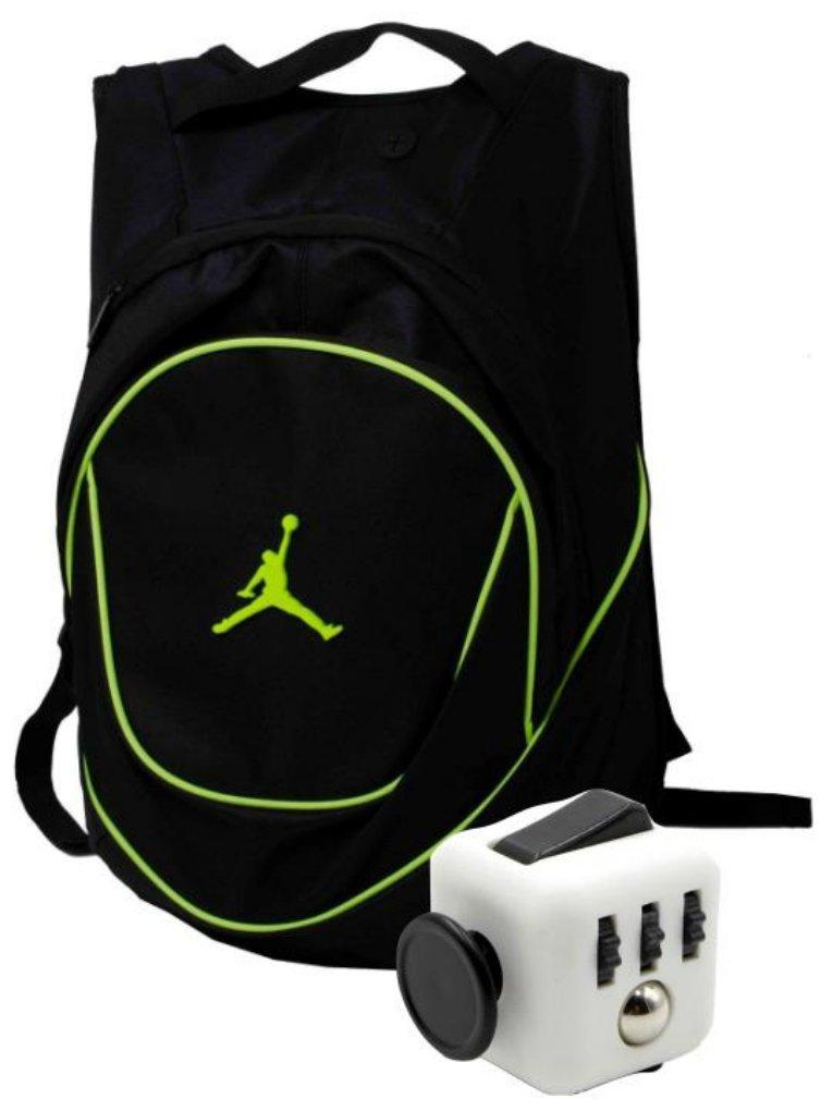 Nike Air Jordan Jumpman 23 Black Book Bag Backpack with FREE FIDGET CUBE (Black/Green)