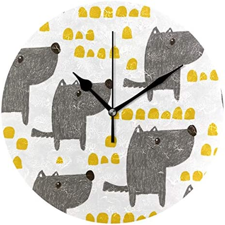 UKIO 掛け時計 置き時計 壁掛け時計 犬柄 アニメ グレー 部屋装飾 壁時計 インテリア おしゃれ かわいい アート 部屋 ウォールクロック 円型