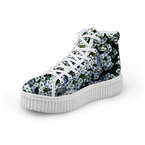 Abbracci Idea Moda Floreale Donne Piattaforma Sneakers Alte Scarpe Top Flower9