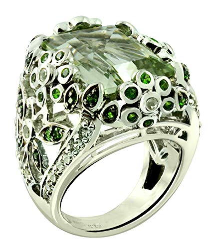 - RB Gems Sterling Silver 925 Ring Genuine GEMS Octagon 16X12 mm 11 Cts Rhodium-Plated Finish Baroque Style (6, prasiolite-Quartz)