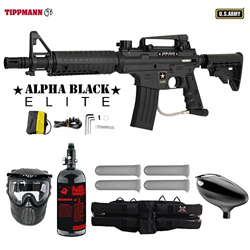 MAddog Tippmann U.S. Army Alpha Black Elite Tactical Starter HPA Paintball Gun Package - Black Black Army Paintball Marker