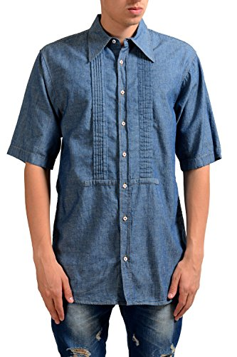 Dsquared2 Men's Blue Linen Pleated Short Sleeve Casual Shirt US S IT 48