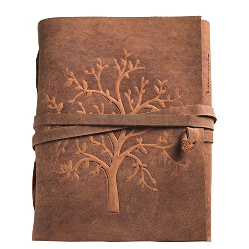 Leather Journal Tree of Life - Pen Holder Writing Notebook Leather Bound Daily Notepad for Women & Men Large 8 x 6 Inches Best Gift for Art Sketchbook, Travel Diary & Journals to Write in