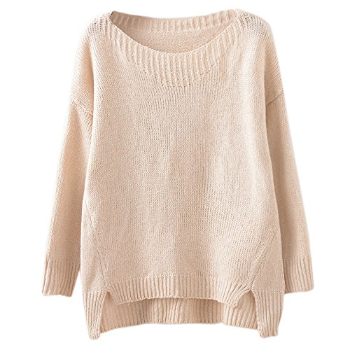 Tueenhuge Women Pullover Casual Solid Side Slit Crew Neck Knit Sweater (Beige) (Boatneck Solid)