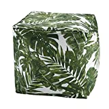Madison Park Printed Palm 3M Scotchgard Outdoor Pouf Green/18x18x18