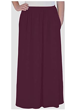 46177ffdd06 Kosher Casual Women s Modest Maxi Long Gathered Elastic Waist Skirt with  Pockets Extra Small Aubergine