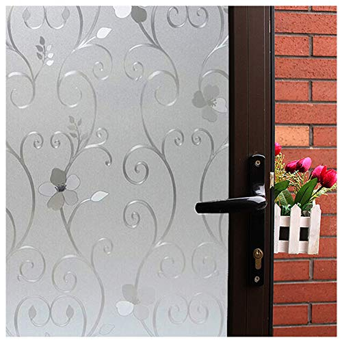 Mikomer 3D Flower Privacy Window Film,Frosted Decorative Glass Door Film,No Adhesive Stained Glass Window Decor,Static Cling Heat Control Anti UV for Home and Office,35 inches by 78.7 inches