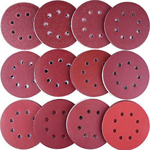 AUSTOR 120 Pieces Sanding Discs 5 Inch 8 Holes Hook and Loop Sandpaper Disc 40/60/ 80/100/ 120/150/ 180/240/ 320/400/ 600/800 Grit Assortment for Random Orbital Sander