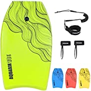 AQUARM Bodyboard 33-inch/36-inch/41-inch Premium EVA Body Board with Coiled Wrist Leash, XPE Core and HDPE Sli
