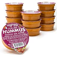 Veggicopia Creamy Roasted Red Pepper Hummus | Satisfying taste of roasted red peppers - All Natural, Gluten-free, Dairy-free, Vegan, High Protein Snack. Shelf Stable. 2.5 oz dip cups (Pack of 12)