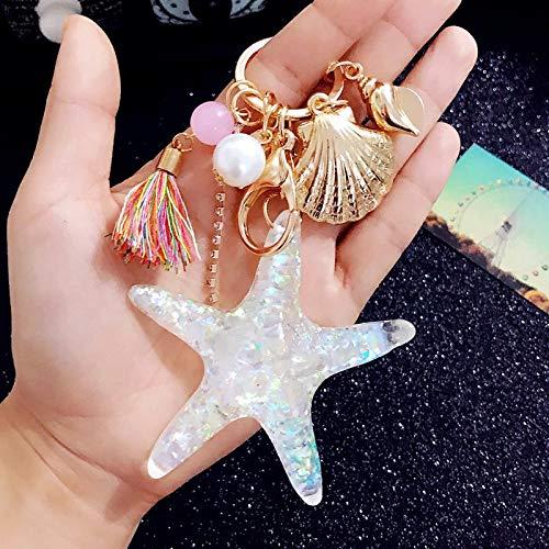 Hot New Cartoon Sea World Starfish Pearl Shell Keychain Key Chain KeyRing Crystal Pendant Keychain Women Gift,one ()