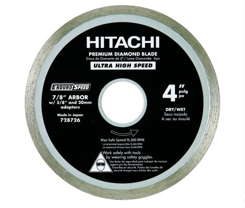 Hitachi 728726 4-Inch Wet and Dry Cut Continuous Rim Diamond Saw Blade for Tile and Stone