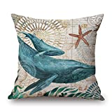 "Happy Cool Cotton Linen Square Mediterranean Sea Decorative Throw Pillow Cushion Cover 18""x 18"" Shark-1"