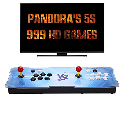 [999 HD Arcade Games] GroGou Arcade Video Game Console 999 Retro Games Pandora's Box 5s Plus Colorful LED Arcade Machine Double Arcade Joystick Built-in Speaker by GroGou