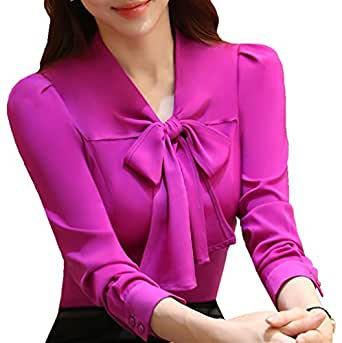 JHVYF Women's Chiffon Long Sleeve Blouse Bow-Tie V Neck Slim Fit Button Down Shirt Purple US 0(Asian Tag M)