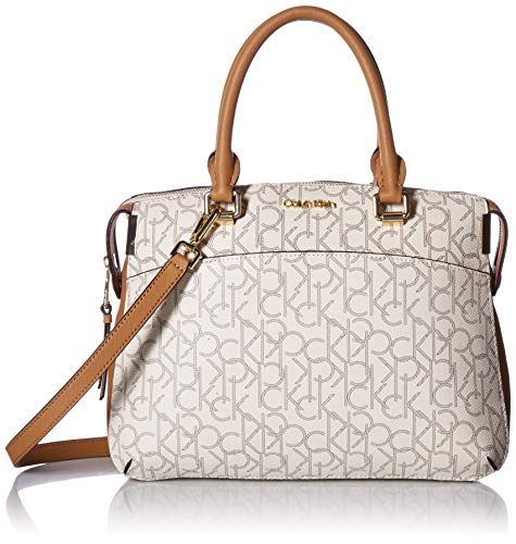 (Calvin Klein womens Calvin Klein Key Item Raelynn Monogram Top Zip Satchel, almond/khaki/cashew saffiano, One Size)