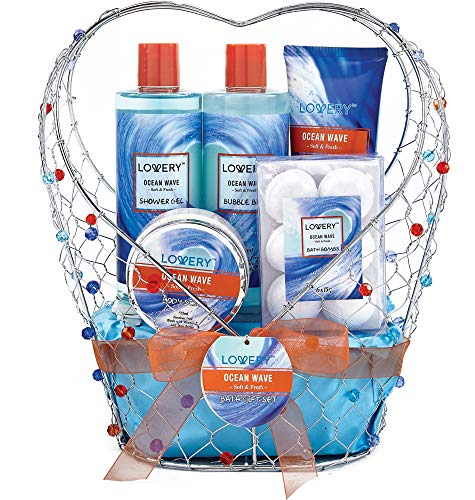 - Bath and Body Gift Basket For Women & Men - Ocean Wave Home Spa Set, Includes Fragrant Lotions, Bath Bombs and More - 11 Piece Set Packaged in Jeweled Heart Shaped Candy Holder