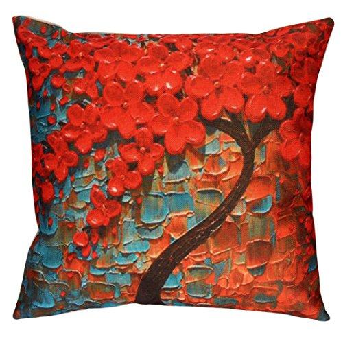e Sofa 3D Flower Tree Oil Printing Waist Throw Cushion Cover Home Decor (Blue) ()