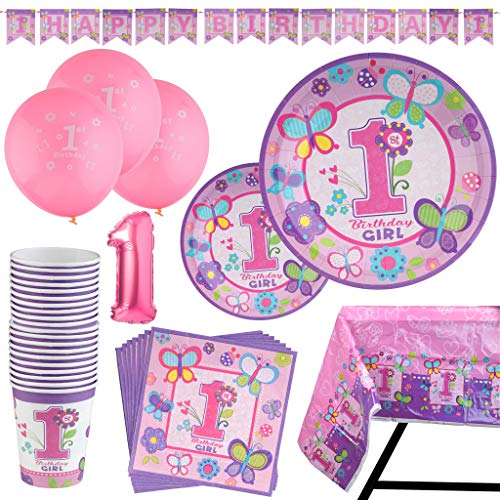 95 Piece 1 Year Old Girl Birthday Party Set Including Banner, Plates, Cups, Napkins, Tablecloth and Balloons, Serves - 1st Paper Plates Birthday