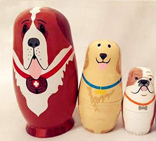 Glamorway 5pcs Lovely Baby Toy Cute Animal Doll Cute Dog Matryoshka Doll Interactive Dolls Wooden Toys Russian Nesting Dolls