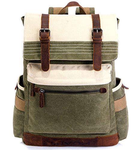 SUVOM Canvas Backpack, Vintage School Backpack, Stylish Travel Rucksack 15 inches Laptop Backpack for Women Men