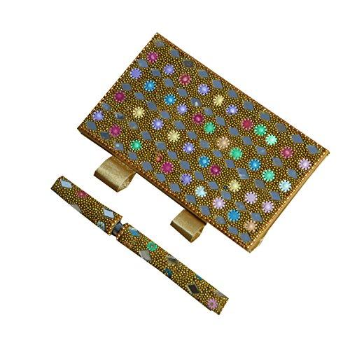 Kuber Industries étnico hecho a mano bolsillo diary|notebook con bolígrafo fabricado en de abalorio y espejo trabajo...