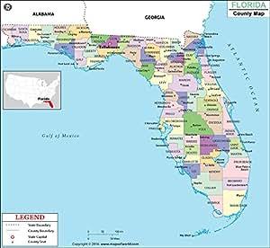 """Mapa del condado de Florida (60"""" de ancho x 54,9"""" de alto"""