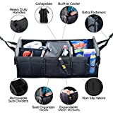 Brightt) Car Trunk Organizer for Seat & Storage with Food & Drinks Cooler to Keep Your Chiller Foods Fresh – Lots of Pockets & Compartments to Save Space, Collapsible, Wear-Resistant & Waterproof