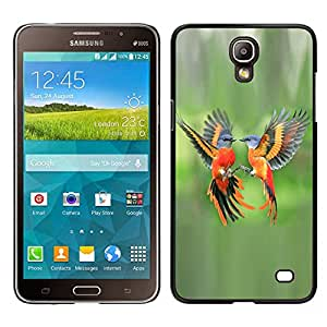 LECELL--Funda protectora / Cubierta / Piel For Samsung Galaxy Mega 2 -- verde aves tropicales naranja pluma de vuelo --