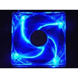 Apevia 14SL-BL 140mm 4pin+3pin Silent Blue LED Case Fan, Connecting to Power Supply or Motherboard