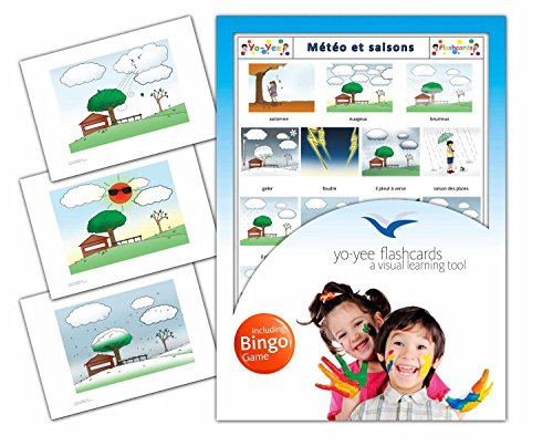 (Weather and Seasons Flashcards in French Language - Flash Cards with Matching Bingo Game for Toddlers, Kids, Children and Adults - Size 4.13 × 5.83 in - DIN A6)