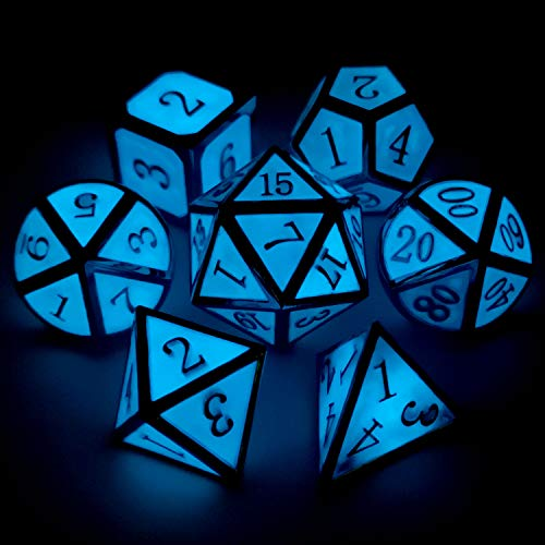 (Haxtec Glow in The Dark Metal DND Dice Set 7 Die Glowing Blue D&D Dice for Dungeons and Dragons Games-Silver Glowing)